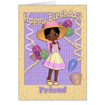 African American Little Girl Friend Birthday Card