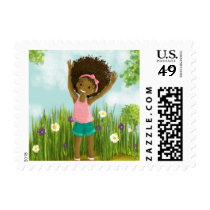 African-American little girl natural hair stamp