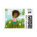 African-American little girl natural hair stamp Postage Stamps