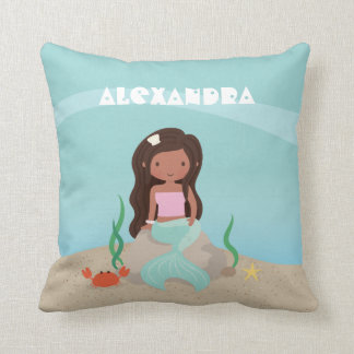 African American Little Mermaid Girls Room Decor Throw Pillow