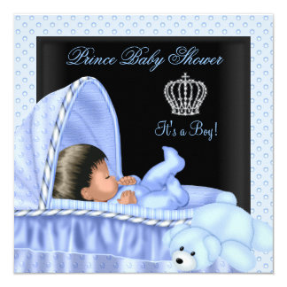 """African American Little Prince Baby Shower Boy 5.25"""" Square Invitation Card"""