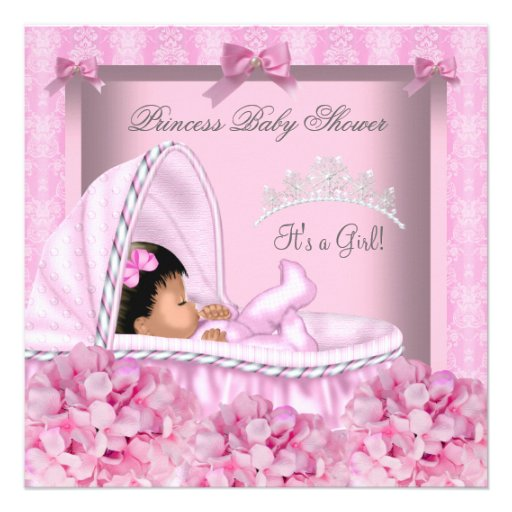 African American Little Princess Baby Shower Girl Custom Invitations