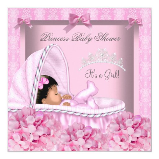 African American Little Princess Baby Shower Girl 5.25x5 ...