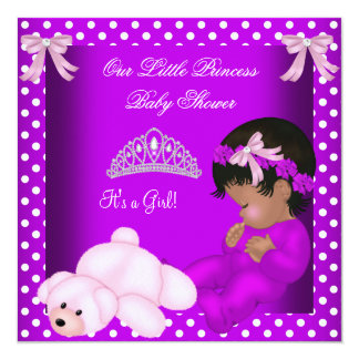 """African American Little Princess Baby Shower Girl 5.25"""" Square Invitation Card"""
