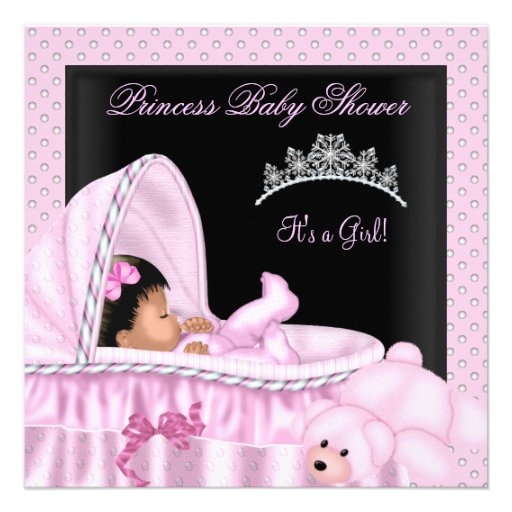 African American Little Princess Baby Shower Girl Invites
