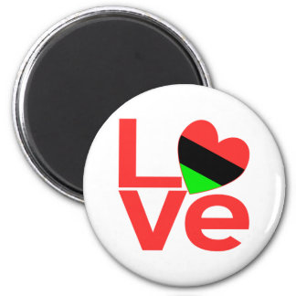 African American LOVE 2 Inch Round Magnet