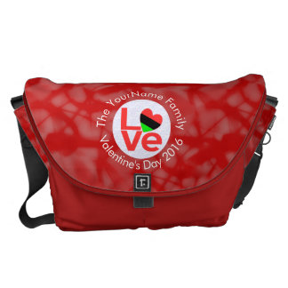 African American LOVE Flags White on Red Courier Bag