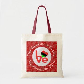 African American LOVE Flags White on Red Tote Bag