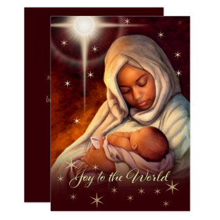 African American Madonna Flat Christmas Cards at Zazzle