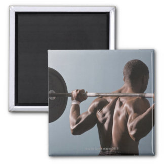 African American man working out the gym 2 2 Inch Square Magnet