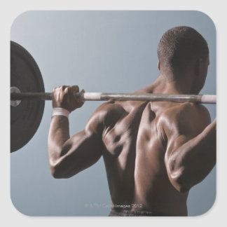 African American man working out the gym 2 Square Sticker