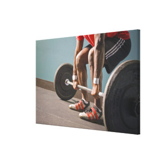 African American man working out the the gym Canvas Print