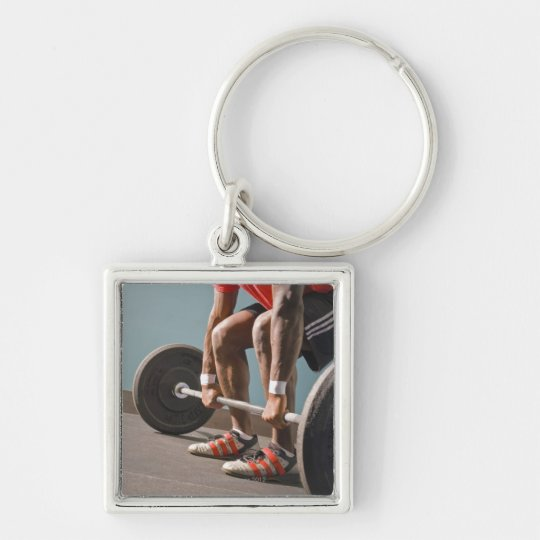 African American man working out the the gym Keychain