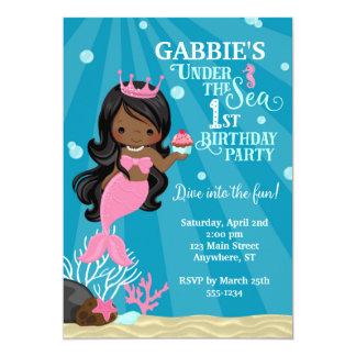 African American Mermaid 1ST Birthday Invitation