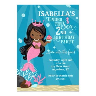 African American Mermaid 2ND Birthday Invitation