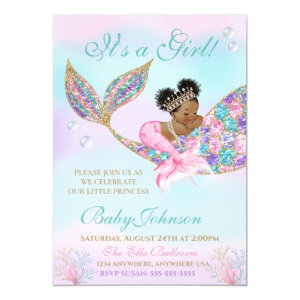 Purple Teal Baby Shower Invitation, African American Mermaid, Glitter