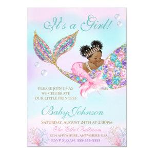 Purple Teal Baby Shower Invitation, African American Mermaid, Glitter