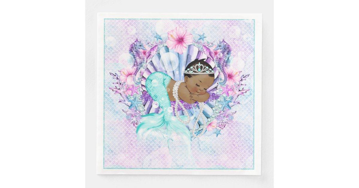 African American Mermaid Baby Shower Napkins Zazzle Com