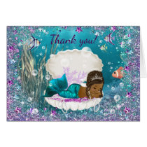 African American Mermaid Baby Shower Thank You Card