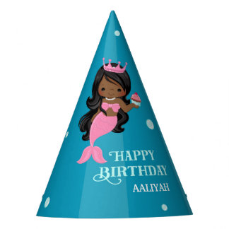African American Mermaid Birthday Party Hat