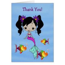 African American Mermaid Blue Water Thank You Card