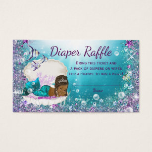 African american business cards templates zazzle african american mermaid diaper raffle tickets colourmoves Images