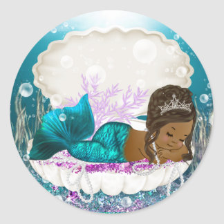 African American Mermaid Girl Baby Shower Stickers