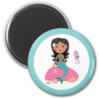 African American mermaid girl starfish seahorse 2 Inch Round Magnet