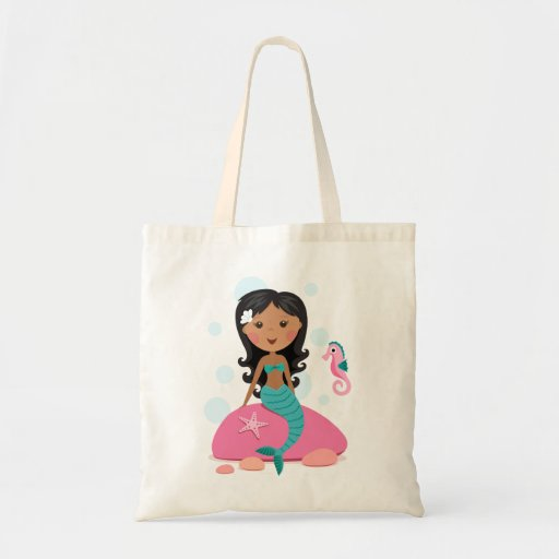 African American mermaid girl starfish seahorse Canvas Bags