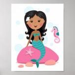 African American mermaid girl starfish seahorse Posters