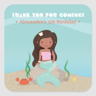 African American Mermaid Girl Thank You Stickers