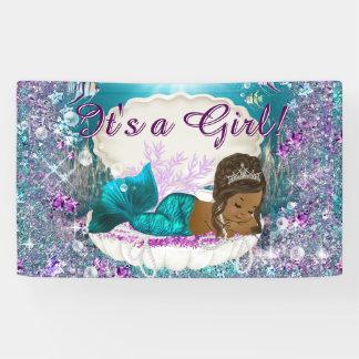 African American Mermaid Princess Baby Shower Banner