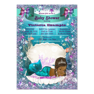 African American Mermaid Princess Baby Shower Card