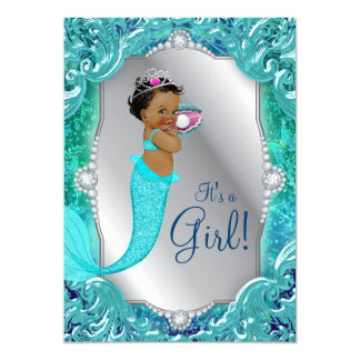 African American Mermaid Under Sea Baby Shower Card