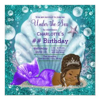 African American Mermaid Under the Sea Birthday Card