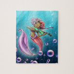 """African American Mermaid w/ Violin 8&quot; x 10&quot; Puzzle<br><div class=""""desc"""">A sweet mermaid enjoys the wonderful sounds that are coming from her violin.</div>"""
