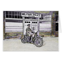 African American Military Policeman WWII Card