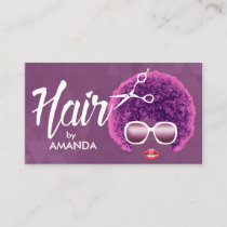 African American Modern Purple Hair Salon Business Card