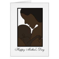 african american mom with new baby illustration card