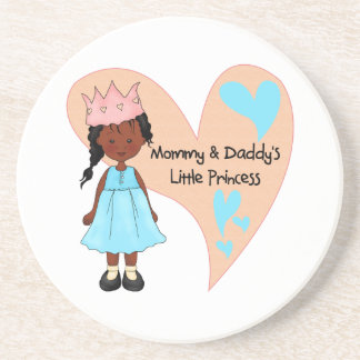 African American Mommy and Daddy's Princess Beverage Coaster