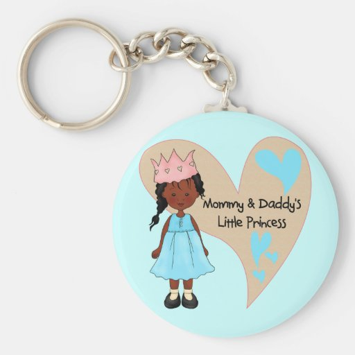 African American Mommy and Daddy's Princess Basic Round Button Keychain