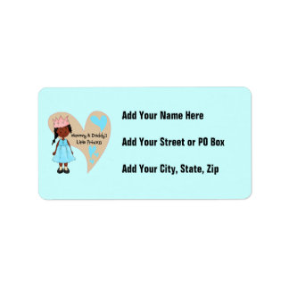 African American Mommy and Daddy's Princess Address Label