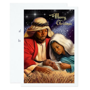 African American Nativity Art Flat Christmas Cards at Zazzle