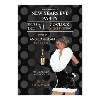 African American New Years Eve Fashion Girl Card