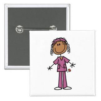 African American Nurse 2 Inch Square Button