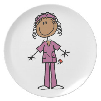 African American Nurse Party Plate
