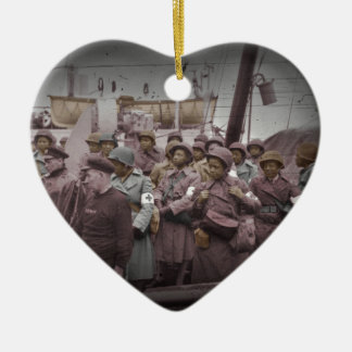 African American Nurses on Ship Double-Sided Heart Ceramic Christmas Ornament