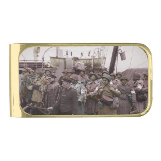 African American Nurses on Shipboard Gold Finish Money Clip