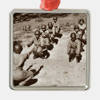 African American Nurses Working Out Square Metal Christmas Ornament