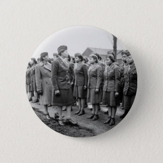 African American Office Inspects Troops Button